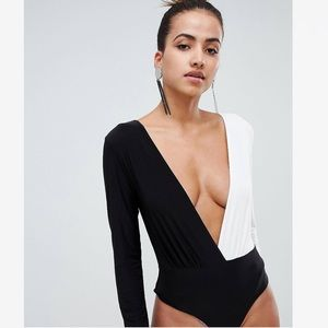 NWT! Color block deep plunge cheeky body suit